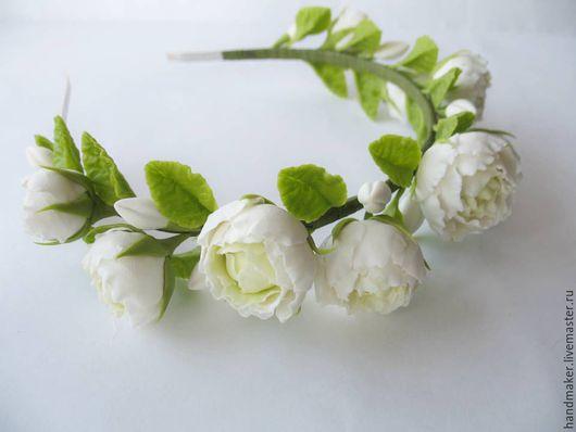 """Диадемы, обручи ручной работы. Ярмарка Мастеров - ручная работа. Купить Ободок с цветами из холодного фарфора """"Белый вальс"""". Handmade."""