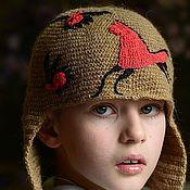 Работы для детей, ручной работы. Ярмарка Мастеров - ручная работа Вязаная крючком шапка из верблюжьей шерсти Мезень. Handmade.