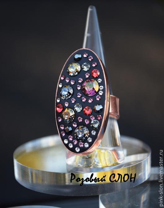 """Кольца ручной работы. Ярмарка Мастеров - ручная работа. Купить Кольцо с кристаллами Swarovski """"Сияние заката"""". Handmade. Кольцо"""