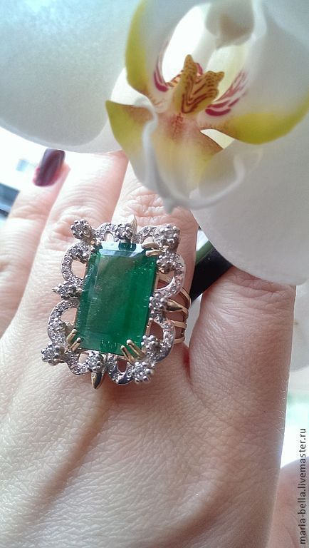 Ring Smaragd. Emerald, diamonds, gold 585, Rings, Moscow,  Фото №1