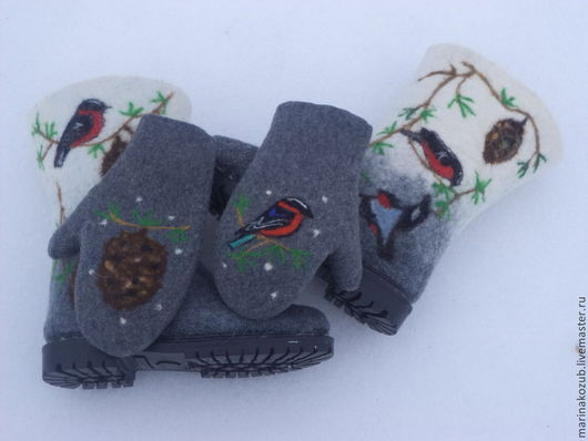 Обувь ручной работы. Ярмарка Мастеров - ручная работа. Купить валенки женские +варежки  Зима. Handmade. Чёрно-белый