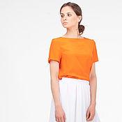 Одежда ручной работы. Ярмарка Мастеров - ручная работа Блуза из шелка оранжевая. Шелковая блузка. Handmade.