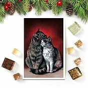 Открытки handmade. Livemaster - original item Postcard of a cat`s love. Handmade.