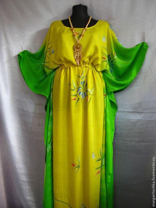 Пляжные платья ручной работы. Ярмарка Мастеров - ручная работа. Купить Желто-зеленое платье  для отдыха. Handmade. Пляжное платье