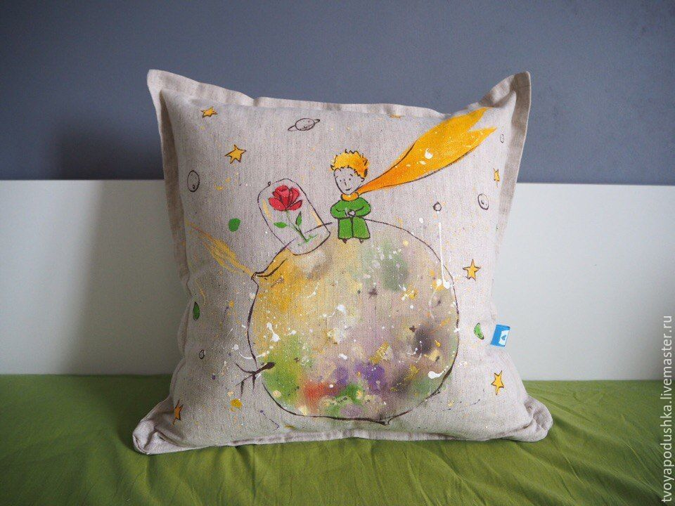Decorative Pillow With Handpainted Planet Of The Little Prince Awesome Hand Painted Decorative Pillows