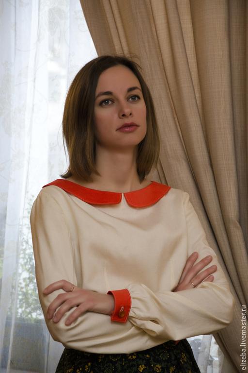 Блузки ручной работы. Ярмарка Мастеров - ручная работа. Купить Шелковая блузка. Handmade. Бежевый, блузка, блузка из шелка