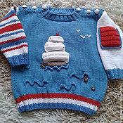 Работы для детей, ручной работы. Ярмарка Мастеров - ручная работа джемпер пуловер На волнах под парусами вязаный детский для мальчика. Handmade.