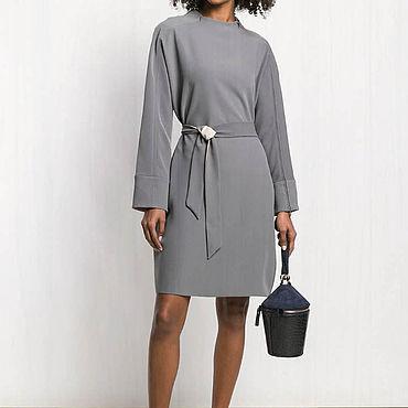 Одежда ручной работы. Ярмарка Мастеров - ручная работа Серое платье повседневное 804В. Handmade.