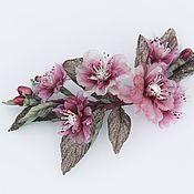 Украшения handmade. Livemaster - original item Sprig of cherry blossoms made of silk with pearls. Handmade.
