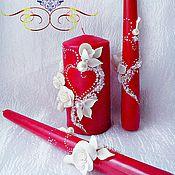 """Свадебный салон ручной работы. Ярмарка Мастеров - ручная работа свадебные свечи(семейный очаг)""""Страсть""""Красные. Handmade."""