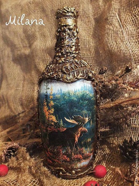 Бутылка, бутылки, бутылка декупаж, бутылки декупаж, прямой и обратный декупаж, бутылка в подарок, бутылка с окошком, подарочная бутылка, подарок охотнику, оформление бутылок, бутылка для мужчины