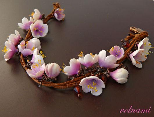 """Браслеты ручной работы. Ярмарка Мастеров - ручная работа. Купить """"Весна"""" браслет. Handmade. Браслет, розовый, подарок для женщины, термопластика"""