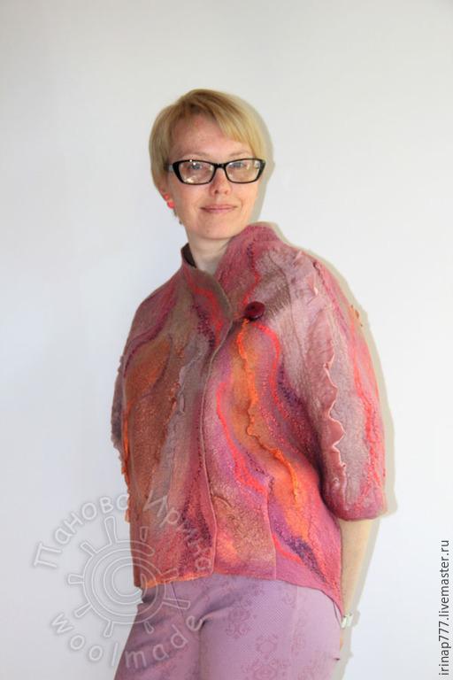 """Пиджаки, жакеты ручной работы. Ярмарка Мастеров - ручная работа. Купить жакет """"Флокс"""". Handmade. Брусничный, валяная одежда, шерсть"""