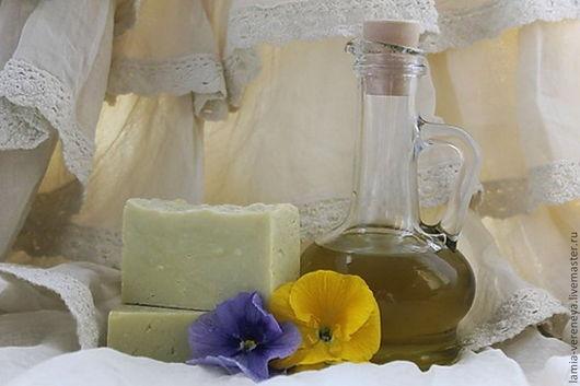 Мыло ручной работы. Ярмарка Мастеров - ручная работа. Купить Мыло натуральное Кастильское классическое с шёлком. Handmade. Оливковый, мыло