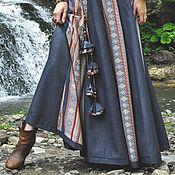 Одежда ручной работы. Ярмарка Мастеров - ручная работа Стильная длинная юбка 16-клинка синяя с полосатой вставкой.. Handmade.