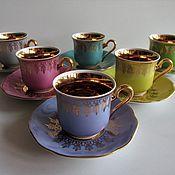 Винтаж handmade. Livemaster - original item SET OF 6 COFFEE PAIRS Porcelain Gilding Czechoslovakia Exl. comp. Handmade.