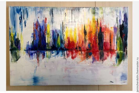 Абстракция ручной работы. Ярмарка Мастеров - ручная работа. Купить Граница реальности. Handmade. Город, городской стиль, ярко, абстракция