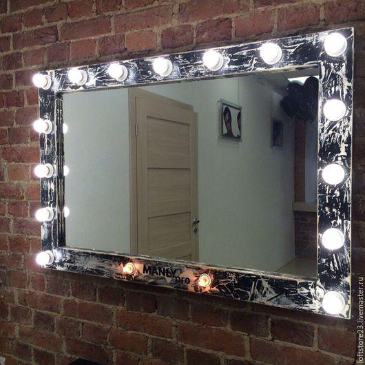 Освещение ручной работы. Ярмарка Мастеров - ручная работа. Купить Гримерное зеркало LOFT STORY. Handmade. Чёрно-белый, лампа