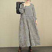 Одежда handmade. Livemaster - original item Linen dress / plaid long dress. Handmade.