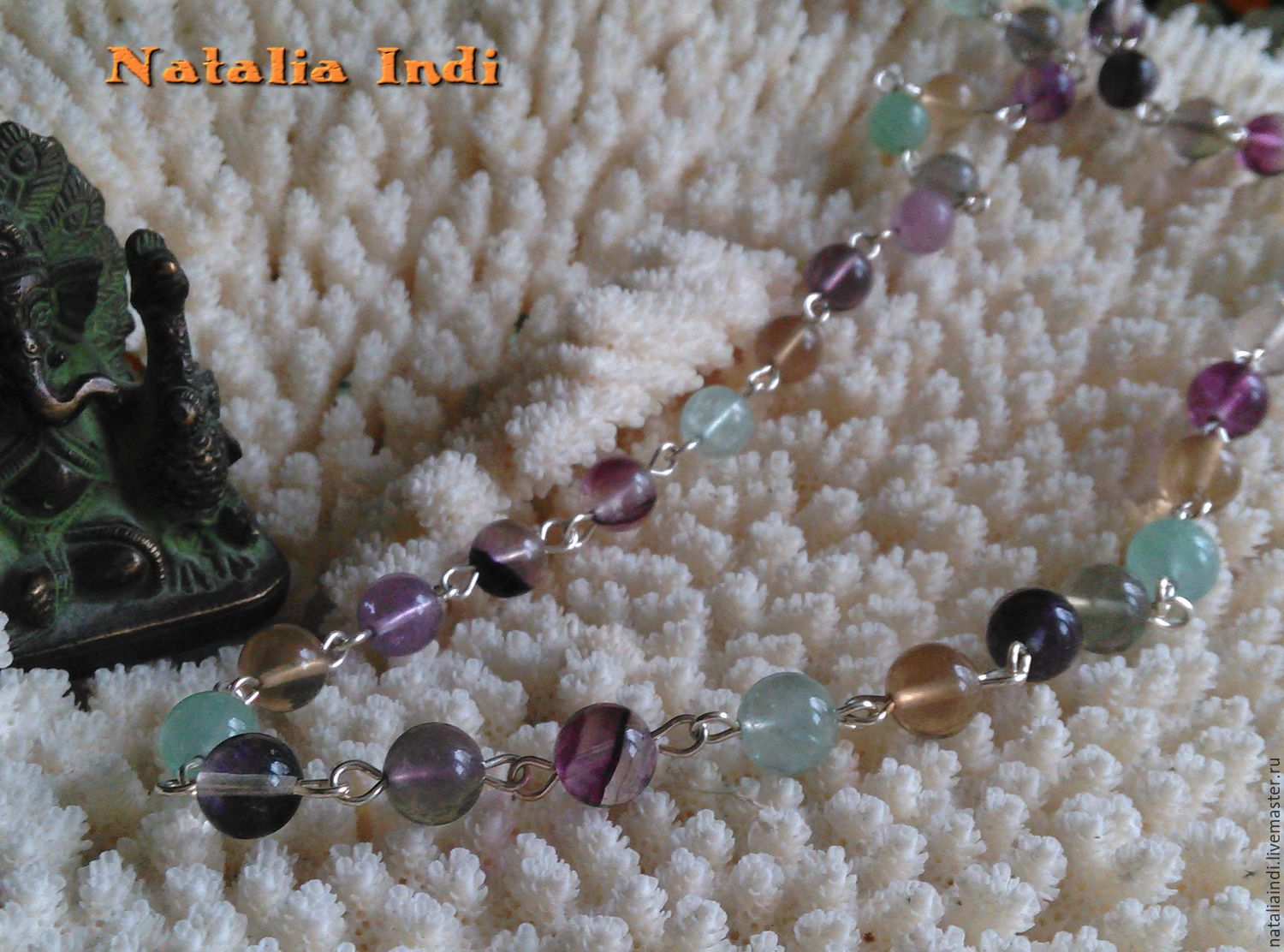 Fluorite necklace in Wire Wrap technique, Necklace, Moscow,  Фото №1