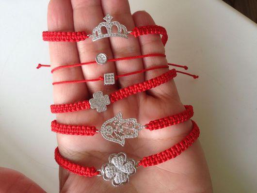 Браслеты ручной работы. Ярмарка Мастеров - ручная работа. Купить Красный браслет (красная нить). Handmade. Ярко-красный, Макраме