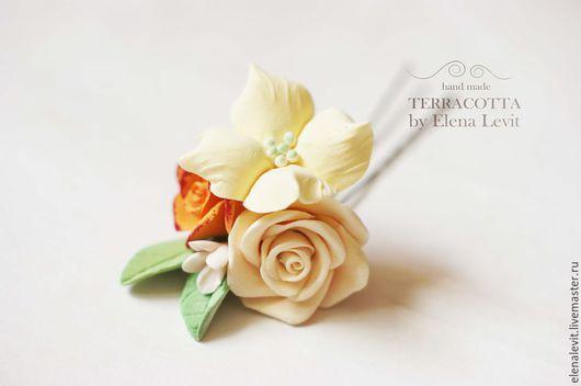 Цветы в прическу из полимерной глины.Terracotta by Elena Levit.