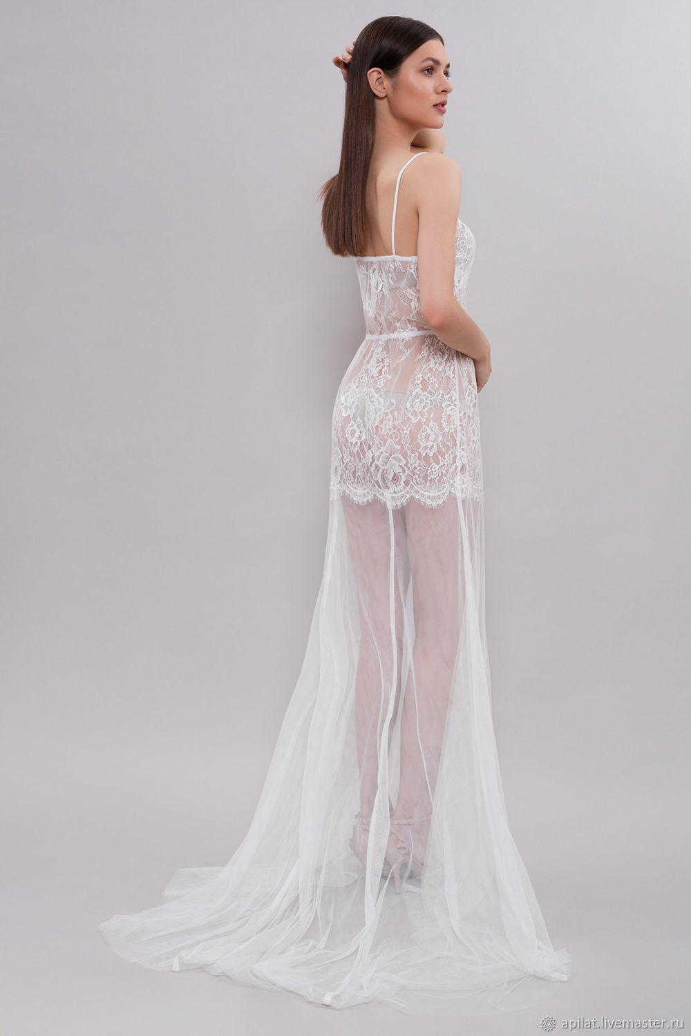 667c5db3e61 Long Tulle Bridal Nightgown With Lace F31(Lingerie)