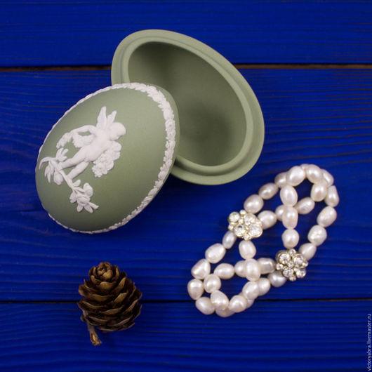 Винтажные предметы интерьера. Ярмарка Мастеров - ручная работа. Купить Шкатулка в форме яйца Wedgwood. Handmade. Комбинированный, винтаж