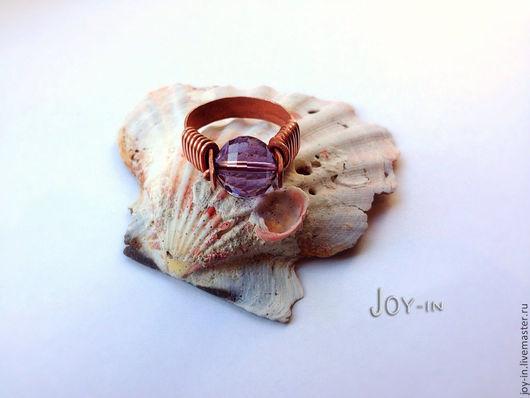 """Кольца ручной работы. Ярмарка Мастеров - ручная работа. Купить """"Магический шар"""" перстень из меди с аметистом. Handmade. Фиолетовый"""