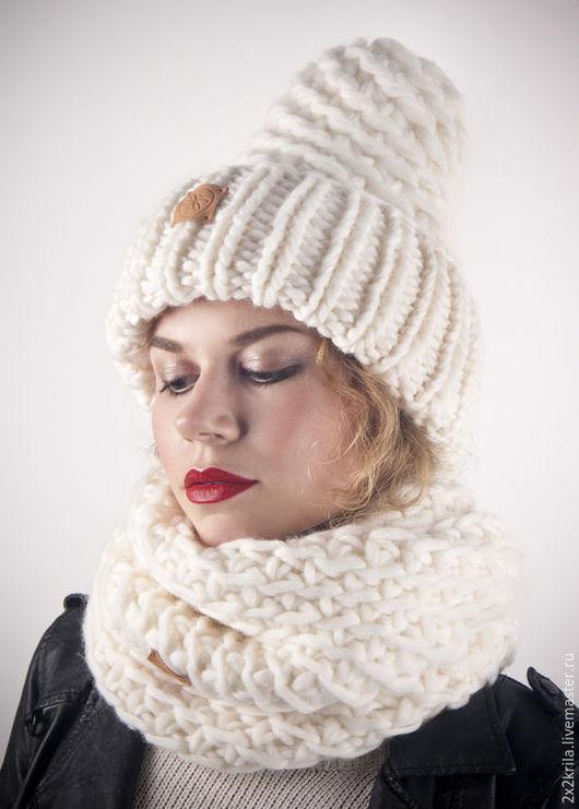 Комплекты аксессуаров ручной работы. Ярмарка Мастеров - ручная работа. Купить Комплект шапка + шарф-снуд «Кокосовые сливки». Handmade.