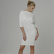 Одежда handmade. Livemaster - original item White dress with sleeves casual convertible Jersey. Handmade.