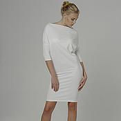 Одежда ручной работы. Ярмарка Мастеров - ручная работа Платье белое с рукавами повседневное удобное трансформер из джерси. Handmade.