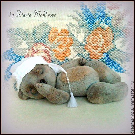 Текстильный мишка с закрывающимися глазами. Авторский мишка в стиле Тедди (20 см). Мастер Дарья `Текстильные игрушки для интерьера и души...`