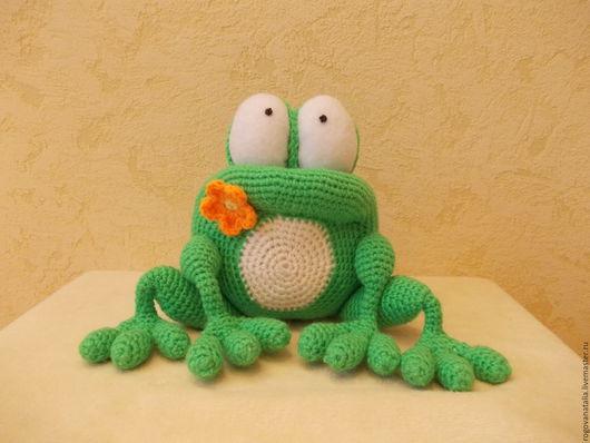 """Игрушки животные, ручной работы. Ярмарка Мастеров - ручная работа. Купить """"Лягушонок"""". Handmade. Ярко-зелёный, лягушки, проволочный каркас"""