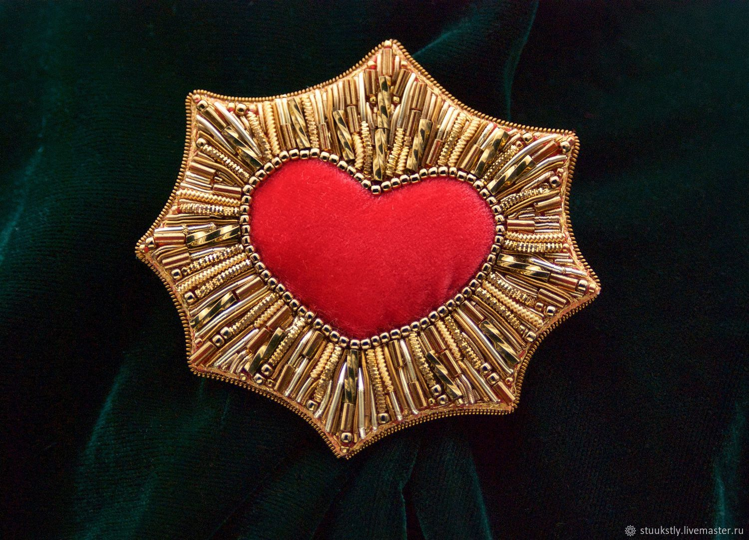 Heart gold beams brooch, Brooches, Moscow,  Фото №1