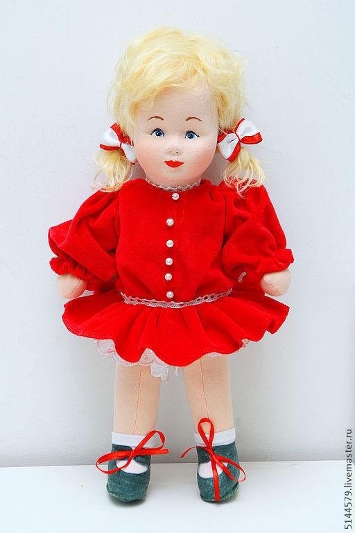 """Коллекционные куклы ручной работы. Ярмарка Мастеров - ручная работа. Купить Кукла текстильная """"Ретро"""". Handmade. Ярко-красный"""