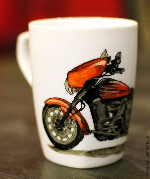 Кружки и чашки ручной работы. Ярмарка Мастеров - ручная работа. Купить Мой любимый мотоцикл - кружка (0128). Handmade. Мотоцикл