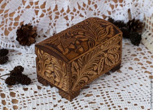 """Шкатулки ручной работы. Ярмарка Мастеров - ручная работа. Купить """"Лесной орех"""" шкатулка-сундучок.Кудринская резьба.Резьба по дереву. Handmade."""