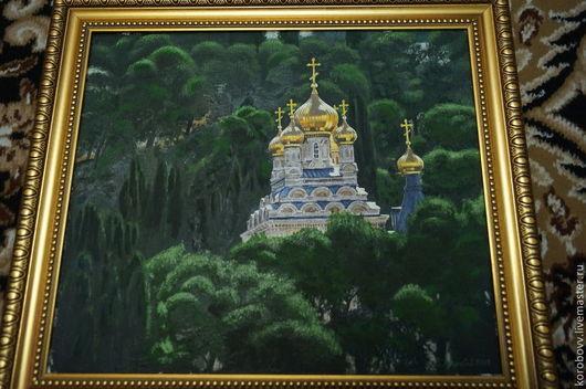 Пейзаж ручной работы. Ярмарка Мастеров - ручная работа. Купить Гефсимания. Handmade. Тёмно-зелёный, монастырь, церковь, масляные краски