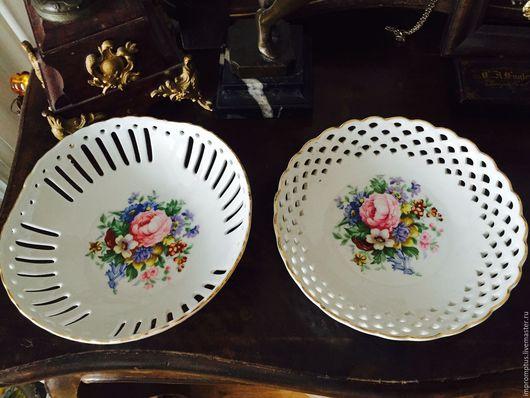 Винтажная посуда. Ярмарка Мастеров - ручная работа. Купить Немецкие винтажные фарфоровые тарелочки с букетом цветов. Handmade. Комбинированный