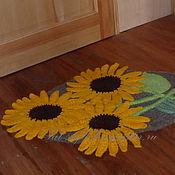 Для дома и интерьера ручной работы. Ярмарка Мастеров - ручная работа Коврик вязаный Солнечные цветы. Handmade.