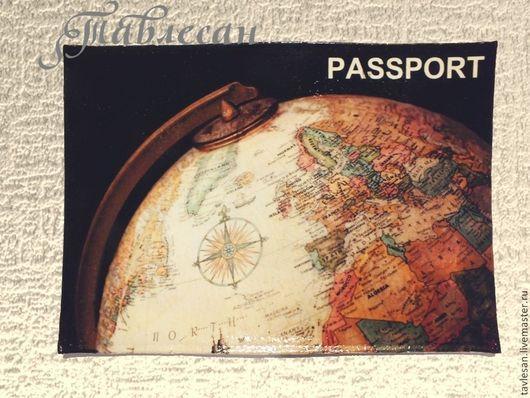 """Обложки ручной работы. Ярмарка Мастеров - ручная работа. Купить Обложка для паспорта  """"История с географией"""" кожа декупаж. Handmade."""