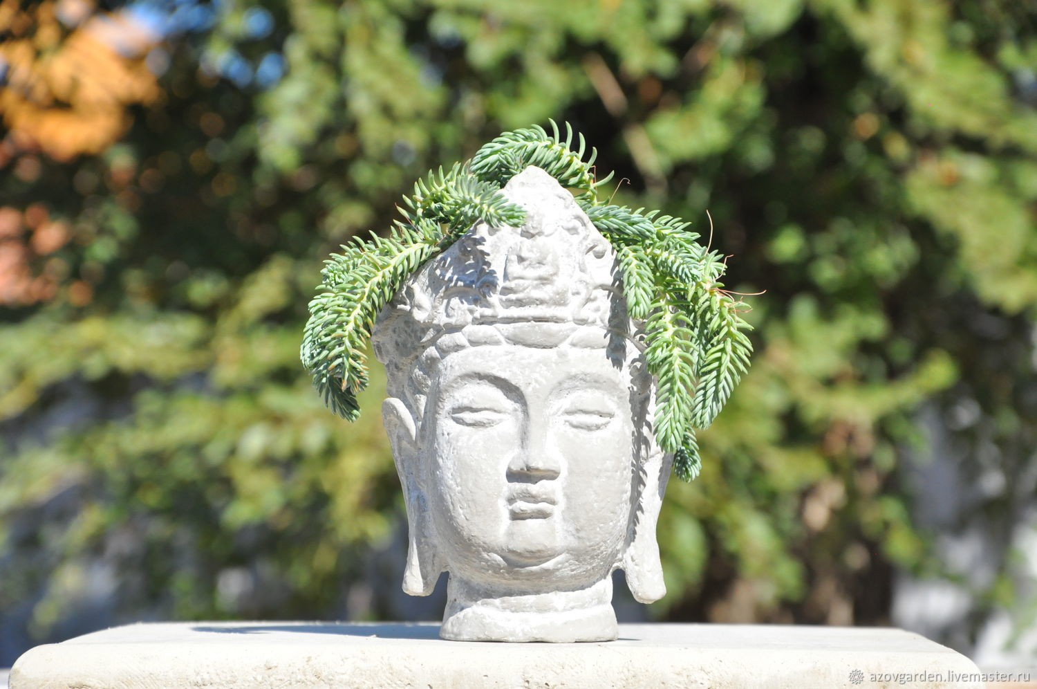 Planters Buddha with a crown made of concrete gray with a white patina, Pots1, Azov,  Фото №1