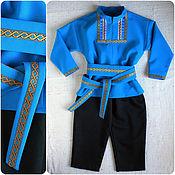 Работы для детей, ручной работы. Ярмарка Мастеров - ручная работа Русский народный костюм плясовой для мальчика, кобальтовый. Handmade.