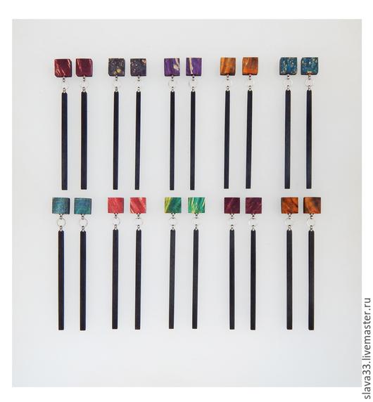 Серьги ручной работы. Ярмарка Мастеров - ручная работа. Купить Длинные серьги-гвоздики.. Handmade. Разноцветный, серьги длинные