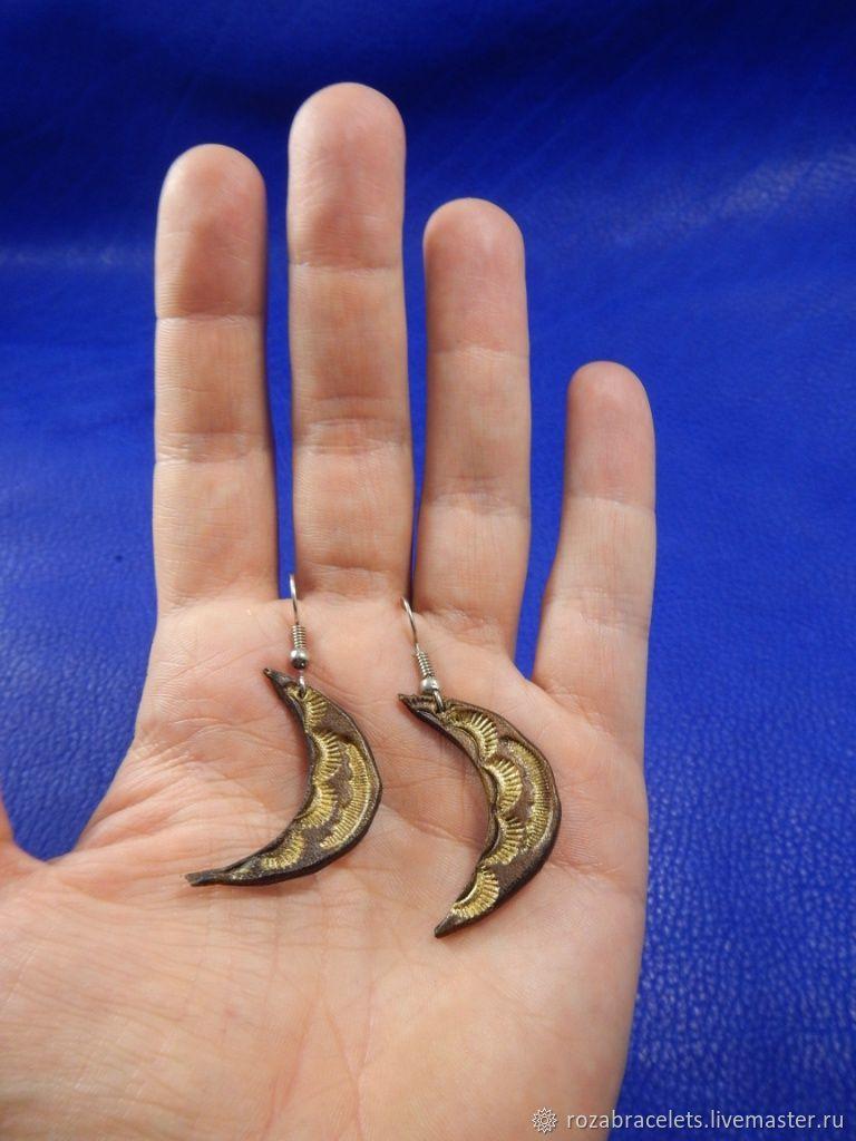 Leather earrings a Month, Earrings, Ulyanovsk,  Фото №1