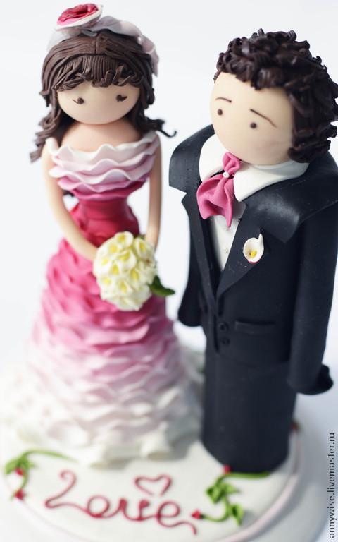 Свадебные аксессуары ручной работы. Ярмарка Мастеров - ручная работа. Купить Свадебные фигурки на торт. Handmade. Фуксия, фигурка