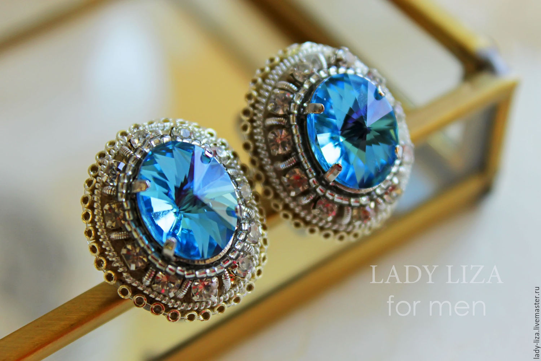5842b619a7ea Cufflinks for men Oscar. Cufflinks with blue stone. Men s cufflinks ...