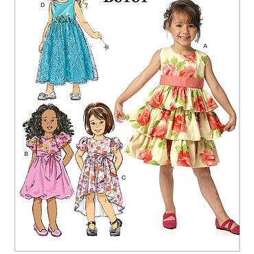 Материалы для творчества ручной работы. Ярмарка Мастеров - ручная работа B6161 Выкройки 4- х платьев для девочек 6-8 лет  ПРОСТО. Handmade.