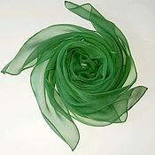 Аксессуары handmade. Livemaster - original item Silk batik scarf green neckerchief as a gift to a woman. Handmade.